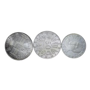 obverse: AUSTRIA LOTTO 3 MONETE IN AG. 53,04 GR. MED. SPL-FDC