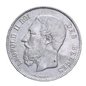 obverse: BELGIO LEOPOLDO II 5 FRANCHI 1870 AG. 24,95 GR. qSPL