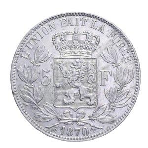 reverse: BELGIO LEOPOLDO II 5 FRANCHI 1870 AG. 24,95 GR. qSPL