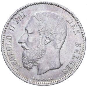 obverse: BELGIO LEOPOLDO II 5 FRANCHI 1873 AG. 24,89 GR. BB+/BB-SPL