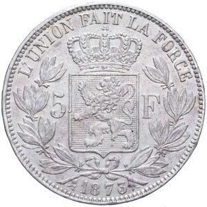 reverse: BELGIO LEOPOLDO II 5 FRANCHI 1873 AG. 24,89 GR. BB+/BB-SPL