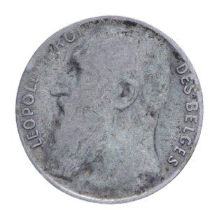 obverse: BELGIO LEOPOLDO II 50 CENTIMES 1901 AG. 2,50 GR. qBB