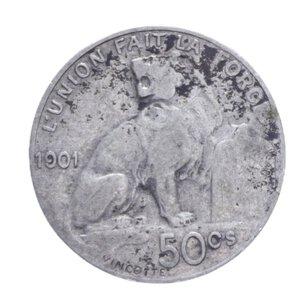 reverse: BELGIO LEOPOLDO II 50 CENTIMES 1901 AG. 2,50 GR. qBB