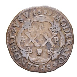 reverse: ANGOLA COLONIA PORTOGHESE 20 REIS 1699 CU 14,44 GR. BB+