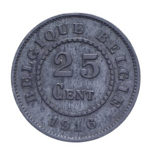 reverse: BELGIO OCCUPAZIONE GERMANIA 25 CENTIMES 1916 6,42 GR. BB+