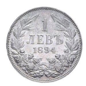 reverse: BULGARIA FERDINANDO I 1 LEVA 1894 KB AG. 5 GR. qFDC-FDC