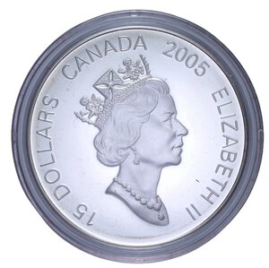 reverse: CANADA ELISABETTA II 15 DOLLARI 2005 AG. 34 GR. IN COFANETTO PROOF
