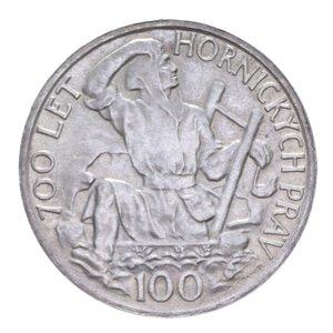 reverse: CECOSLOVACCHIA 100 KORUN 1949 DIRITTI ESTRAZIONE MINERARIA AG. 14,05 GR. qFDC