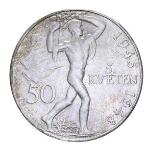 reverse: CECOSLOVACCHIA 50 KORUN 1948 INDIPENDENZA AG. 9,87 GR. SPL-FDC