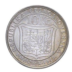 reverse: CECOSLOVACCHIA 10 KORUN 1928 AG. 10,10 GR. SPL+