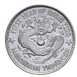 obverse: CINA PROVINCIA MANCHURIAN 20 CENT. 1910 R AG. 5,20 GR. SPL-FDC