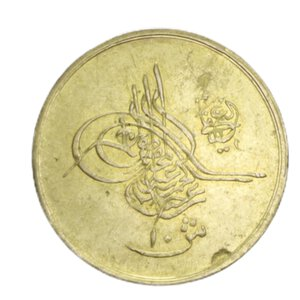 reverse: EGITTO ABDUL HAMID II 10 QIRSH 1293/34 (1908) AU 0,83GR. qSPL