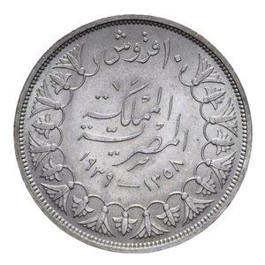 reverse: EGITTO FAROUK MEZZA PIASTRA 1939 AG. 14,02 GR. qFDC