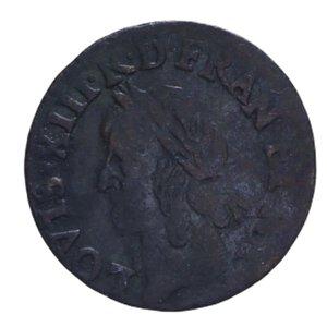 obverse: FRANCIA LUIGI XIII DOPPIO TORNESE 1642 CU 2,09 GR. qBB
