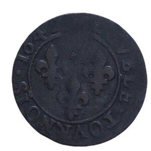 reverse: FRANCIA LUIGI XIII DOPPIO TORNESE 1642 CU 2,09 GR. qBB