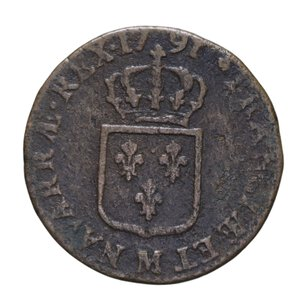 reverse: FRANCIA LUIGI XVI SOL 1791 CU 10,68 GR. MB-BB
