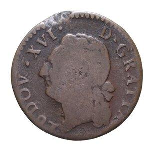 obverse: FRANCIA LUIGI XVI LIARD 1782 CU 5,23 GR. MB+