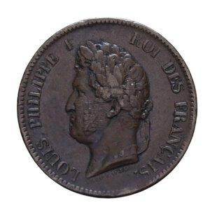 obverse: FRANCIA COLONIE LUIGI FILIPPO I 5 CENT. 1843 A CU 10,12 GR. BB-BB+