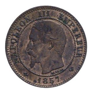 obverse: FRANCIA NAPOLEONE III 2 CENT. 1857 CU 2 GR. SPL+ (TRACCE DI ROSSO)