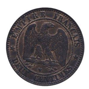 reverse: FRANCIA NAPOLEONE III 2 CENT. 1857 CU 2 GR. SPL+ (TRACCE DI ROSSO)
