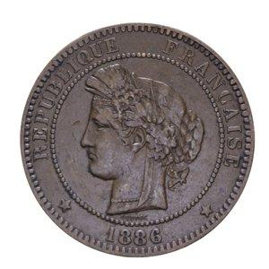 obverse: FRANCIA REPUBBLICA 10 CENTIMES 1886 A CU 10,12 GR. BB