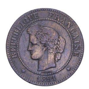 obverse: FRANCIA REPUBBLICA 5 CENTIMES 1891 A CU 4,78 GR. BB