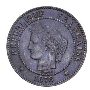 obverse: FRANCIA REPUBBLICA 2 CENTIMES 1878 A CU 1,94 GR. qSPL