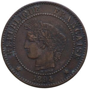 obverse: FRANCIA REPUBBLICA 2 CENTIMES 1894 A CU 1,93 GR. BB+