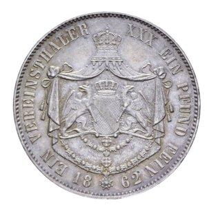 reverse: GERMANIA BADEN FRIEDRICH I THALER 1862 AG. 18,15 GR. SPL