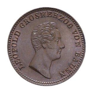 obverse: GERMANIA BADEN KARL LEOPOLD FRIEDRICH KREUZER 1844 CU 4,06 GR. FDC (TRACCE DI ROSSO)