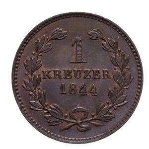 reverse: GERMANIA BADEN KARL LEOPOLD FRIEDRICH KREUZER 1844 CU 4,06 GR. FDC (TRACCE DI ROSSO)