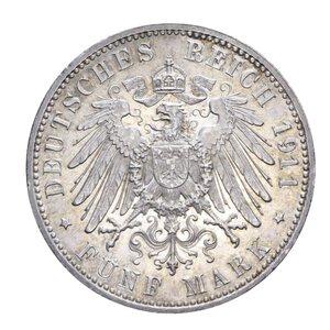 reverse: GERMANIA BAVARIA LUITPOLD 5 MARCHI 1911 AG. 27,83 GR. SPL-FDC