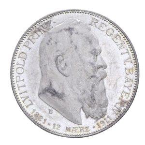 obverse: GERMANIA BAVARIA LUITPOLD 2 MARCHI 1911 AG. 11,10 GR. FDC