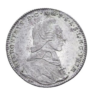 obverse: AUSTRIA SALISBURGO HIERONYMUS 20 KREUZER 1791 AG. 6,68 GR. SPL
