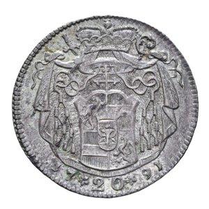 reverse: AUSTRIA SALISBURGO HIERONYMUS 20 KREUZER 1791 AG. 6,68 GR. SPL