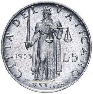 reverse: PIO XII (1939-1958) 5 LIRE 1953 AL 1,02 GR. qFDC