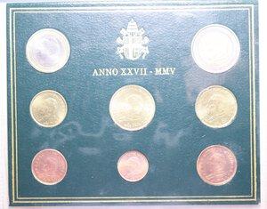 reverse: GIOVANNI PAOLO II (1978-2005) SERIE IN EURO 2005 IN FOLDER FDC