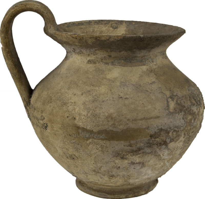 obverse: Large Daunian Olpe.  Bulbous body, strap handle, flared rim and painted brown bands.  3rd century BC.  16 cm (including handle).  NO EXTRA-EU EXPORT