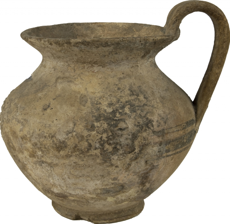 reverse: Large Daunian Olpe.  Bulbous body, strap handle, flared rim and painted brown bands.  3rd century BC.  16 cm (including handle).  NO EXTRA-EU EXPORT