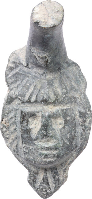 obverse: Bronze applique in the shape of human head.  Roman period, 1st-3rd century AD.  43 mm high