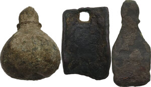 reverse: Lot of 3 bronze items.  Roman to migration period
