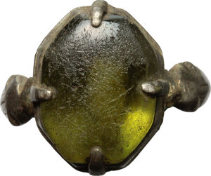 reverse: Silver ring with green glass paste gem.  Medieval period.   Traces of gilding.  21 mm