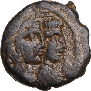obverse: Nabatea.  Aretas IV and Shaqilat (9 BC-AD 40).. AE 19 mm. Petra mint, c. 16-40 AD