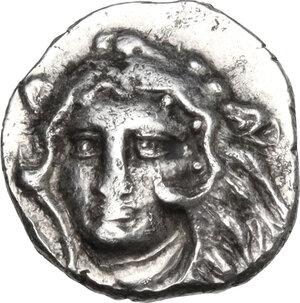 obverse: Southern Apulia, Tarentum. AR Diobol, 325-280 BC