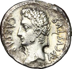 obverse: Augustus (27 BC - 14 AD).. AR (Fourrée) Denarius, Spanish mint, 19-18 BC