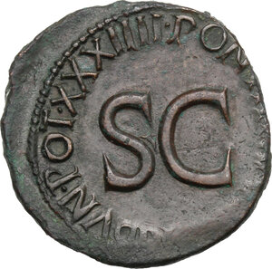 reverse: Augustus (27 BC - 14 AD)  . AE As, 10-12 AD