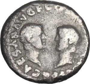 reverse: Vespasian with Titus and Domitian as Caesares (69-79).. AR Denarius, Lugdunum mint, 70-71 AD