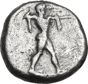 obverse: Lucania, Poseidonia-Paestum. AR Diobol, 410-350 BC