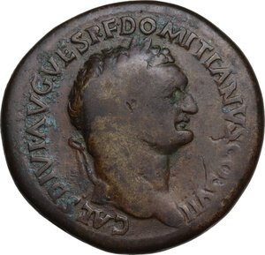 obverse: Domitian as Caesar (69-81).. AE Sestertius, uncertain mint in Thrace, 80-81