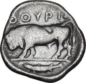 reverse: Southern Lucania, Thurium. AR Diobol, c. 443-400